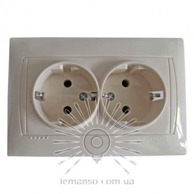 Розетка  керамика 2-я с заземлением LEMANSO Сакура крем  LMR1118 описание, отзывы, характеристики