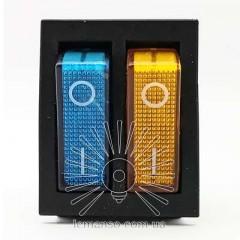 Переключатель  Lemanso  LSW04 двойной синий + жёлтый с подсв. / KCD2-2101N