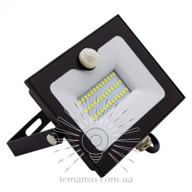 Прожектор LED 30w 6500K IP65 2400LM LEMANSO со встроенным датчиком чёрный/ LMPS35 описание, отзывы, характеристики