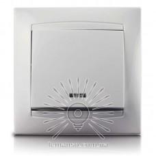 Выключатель 1-й + LED подсветка  LEMANSO Сакура белый  LMR1004