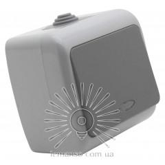 Выключатель накладной 1-й + подсветка IP54 LEMANSO Немо серый LMR2403