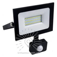 Прожектор LED 50w 6500K IP65 3000LM LEMANSO 175-265V с датчиком чёрный/ LMPS58