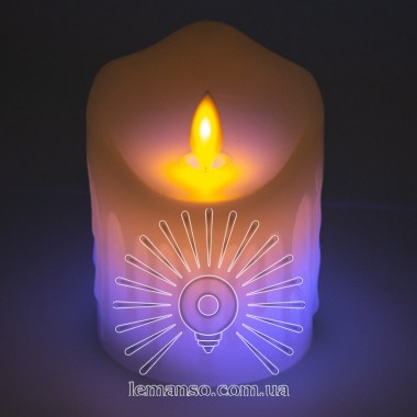 Свеча LED Lemanso 75*100мм RGB 3xAAA (нет в компл.) IP20 / LM36006 (+пульт, еф. пламя) описание, отзывы, характеристики