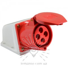 Гнездо стационарное LM2012 (ГС) Lemanso 16А 4п (3п+н) 380-415V IP44 красное / упак=2шт