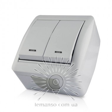Выключатель накладной 2-й  + LED подсветка  LEMANSO Магнолия белый  LMR2010 описание, отзывы, характеристики